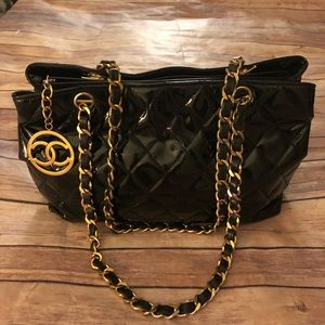 Chanel black quilted patent leather/CC charm bag